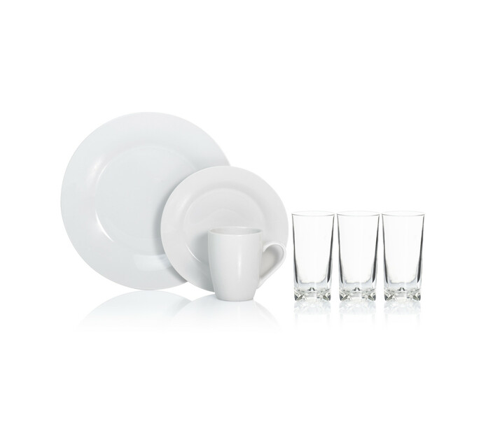 Consol 16-Piece Opal Dinner Set with Glasses