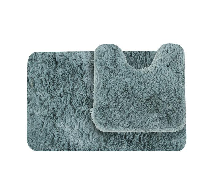 Waltex Shaggy Memory Foam Mat and Pedestal Blue haze