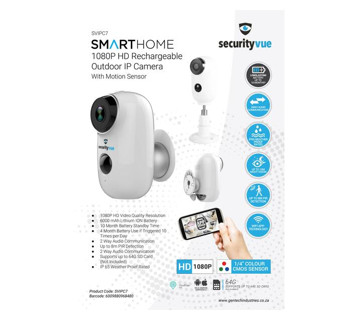 SECURITYVUE SMART HOME 1080P RECHARGEABLE OUTDOOR IP CAMERA WITH MOTION SENSOR
