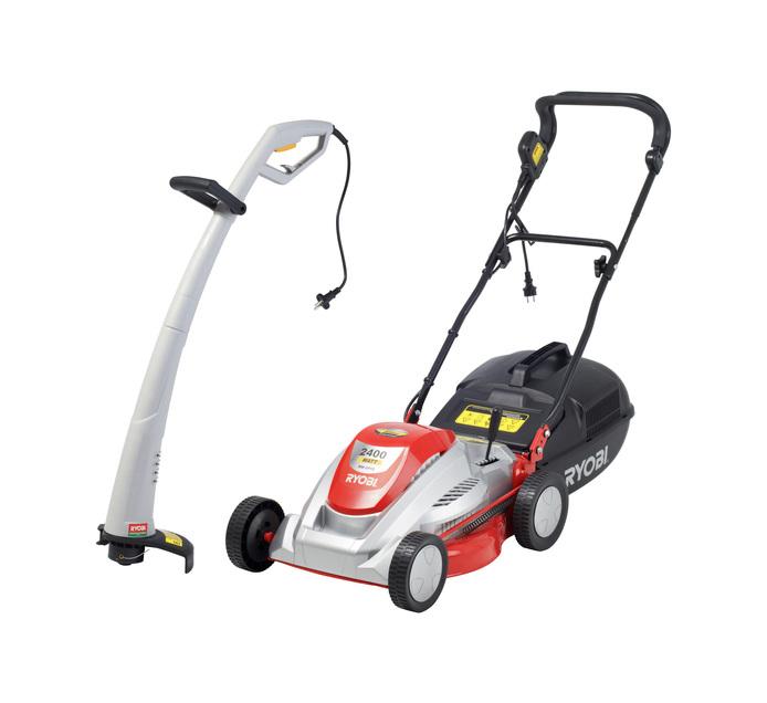 RYOBI 2400 W Electric Lawnmower plus 350 W Trimmer Bundle