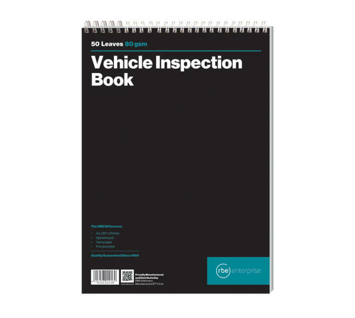 RBE: A4 Vehicle Inspection Book (Pack of 3)