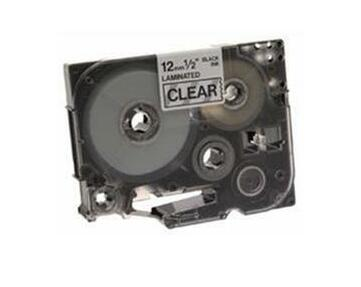 Brother Black on Clear Gloss Laminated Tape, 12mm label-making tape TZ