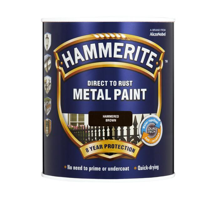 Hammerite 500 ml Metal Paint Hammered Finish Brown