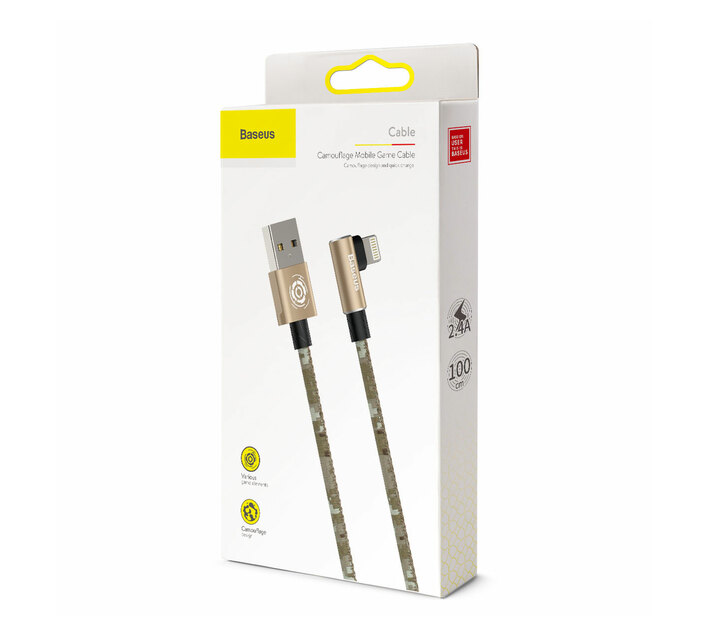 Baseus 1m - 2.4A - Camouflage Gamer USB Type-A to Lightning Cable - Brown