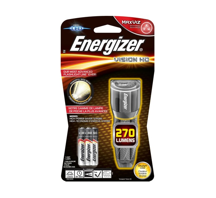 Energizer Vision HD Metal Flashlight plus Batteries