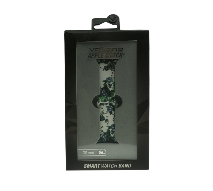 Volkano Smart Series iWatch Band - Printed Silicone - 38mm - White/Green Floral
