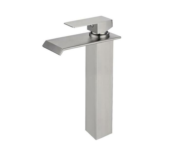 CHROMECATER Basin Mixer Tall Wide Flat Spout Brushed S/Steel