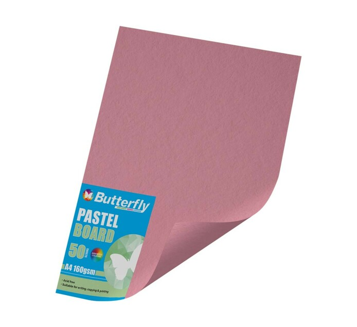 Butterfly A4 Project Board Pink 50 Sheets Pink