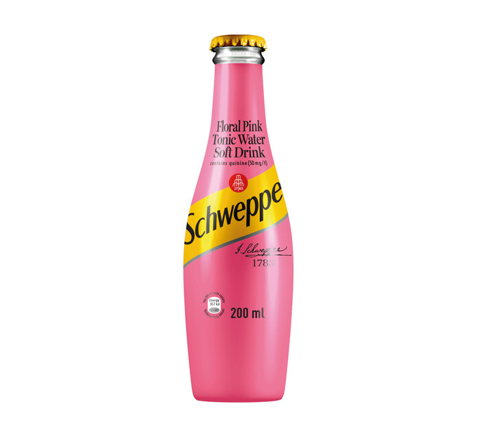 Schweppes Tonic Water Bottle Floral Pink (4 x 200ml)
