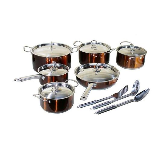 15 Piece Conic Stainless Steel Heavy Bottom Cookware Set - Copper
