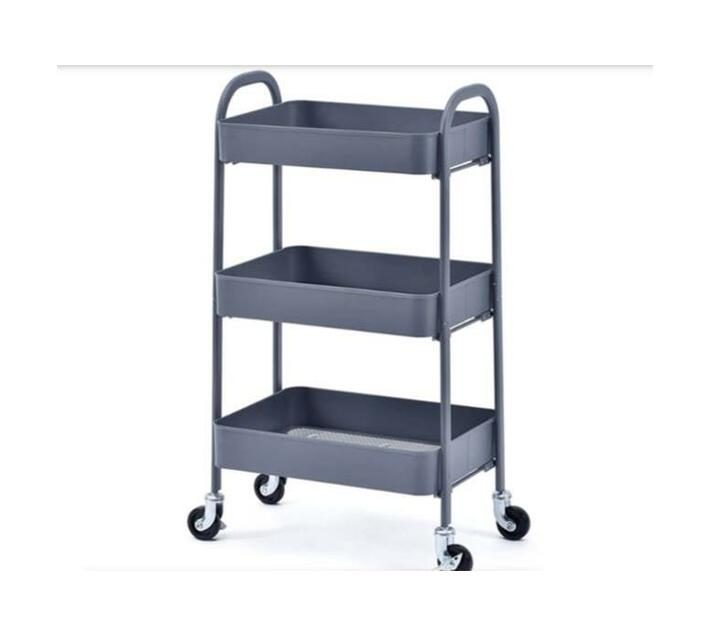 3-Tier Metal Mesh Utility Rolling Cart Storage Organizer with Wheels - Grey