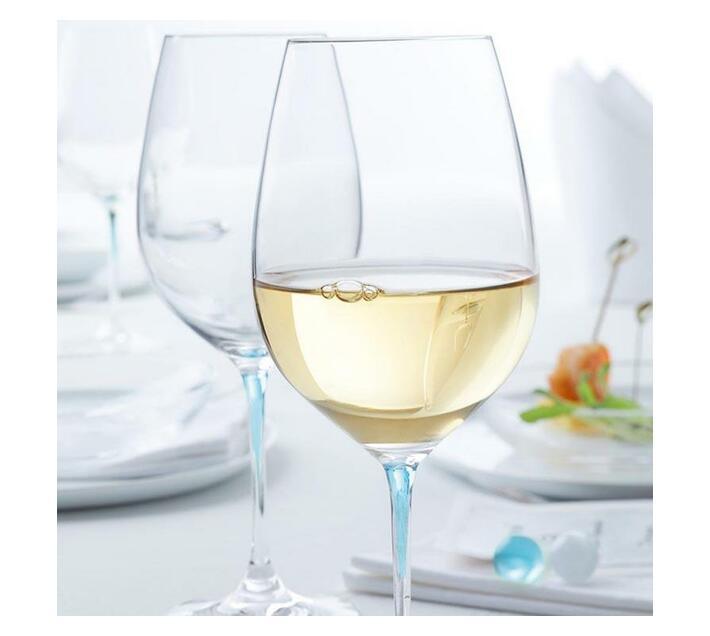 Leonardo Clear Wine Glass with Blue Stem LA Perla Set of 2