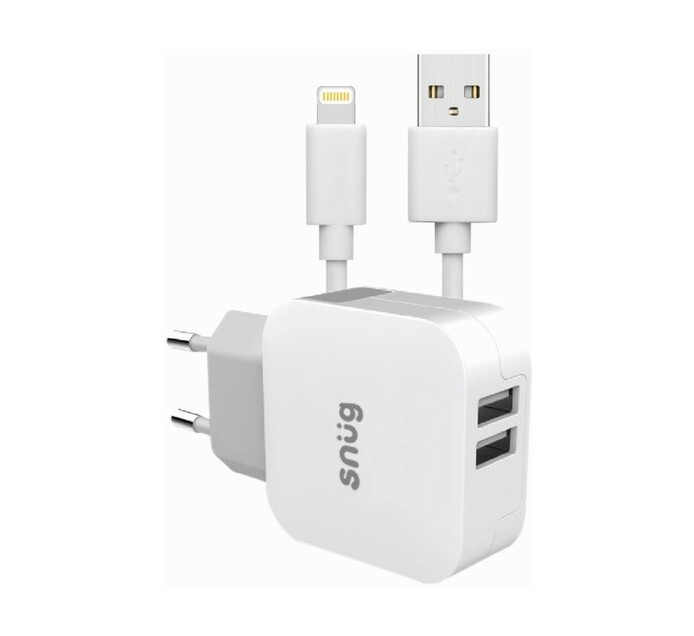 Snug 2 Port 3.4A Charger + Lightning Cable White