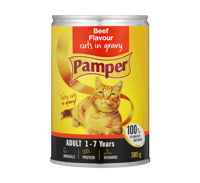 Pamper Moist Cat Food Beef And Gravy Cuts (1 x 385g)