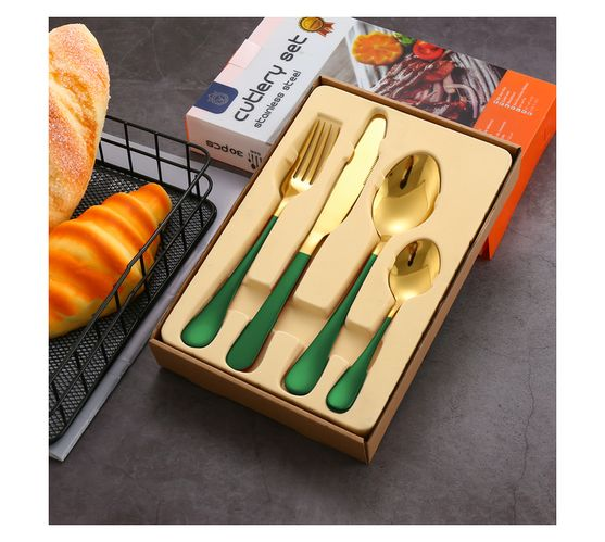 LMA Authentic Two-Tone Cutlery Dinner Set & PVC Pack - 24 Piece - Green