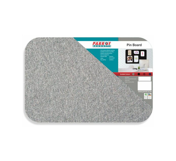 Parrot 600 x 450 mm No Frame Pin Board Grey