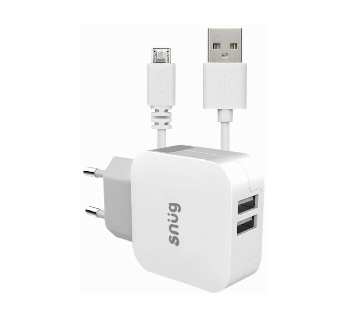 Snug 2 Port 3.4AMP Charger + Micro USB Cable White