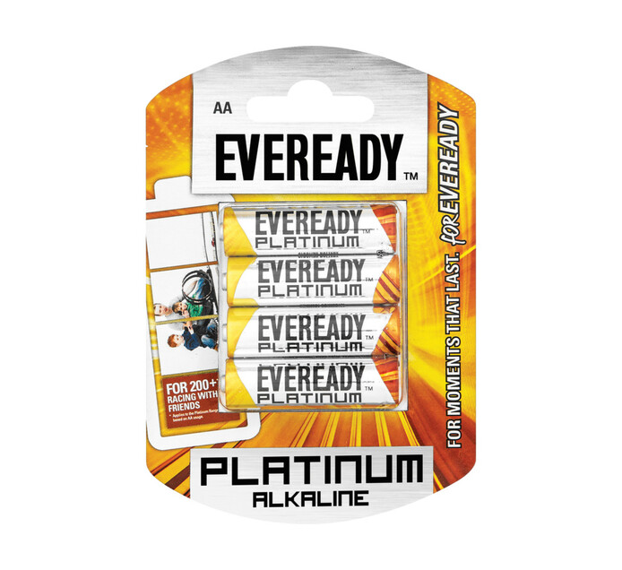 Eveready Platinum Alkaline AA Batteries 4-Pack