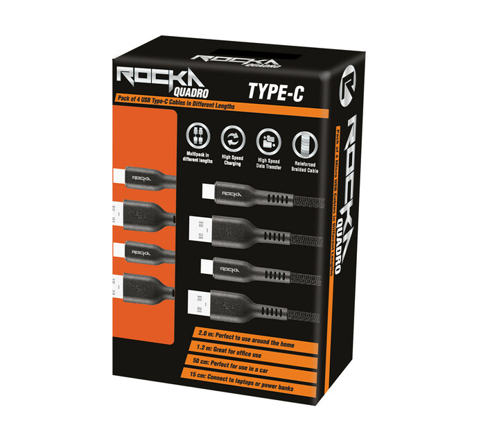 Rocka Quadro Series Type - C 4 Pack Cables
