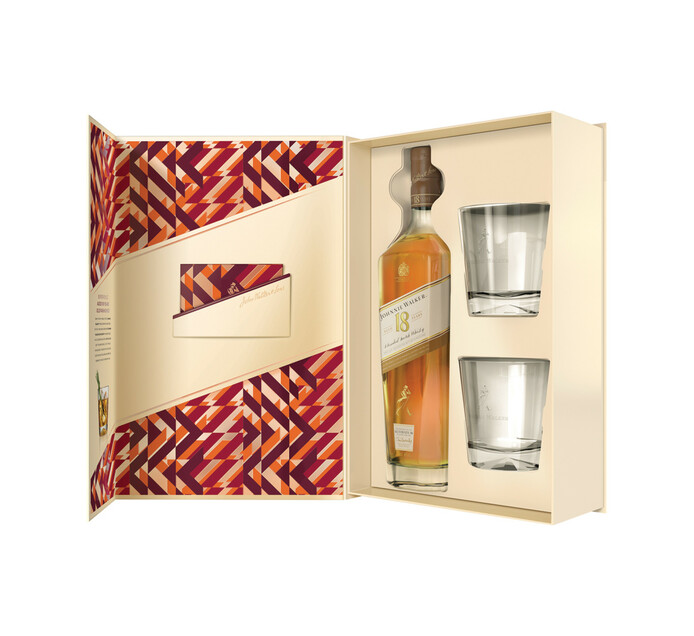 Johnnie Walker 18YO Blended Scotch Whisky and 2 Glasses in Giftpack (1 x 750ml)