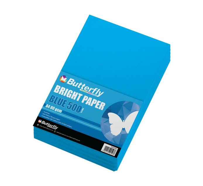 Butterfly A4 Paper Ream Bright Blue 500 Sheets