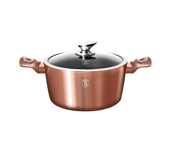 Berlinger Haus 28cm Marble Coating Casserole with Lid - Rose Gold
