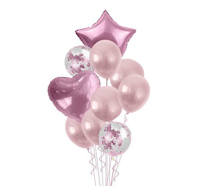 Bubblebean- Light Pink Bunched Party Helium Balloons - 10 Piece
