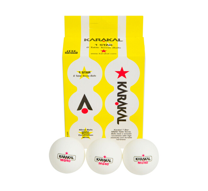 Karakal 6-pack 1-Star Table Tennis BallS 6-Pack