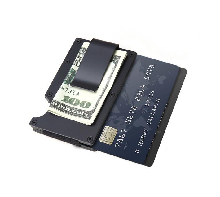 Slim Aluminium Card Wallet with Moneyclip