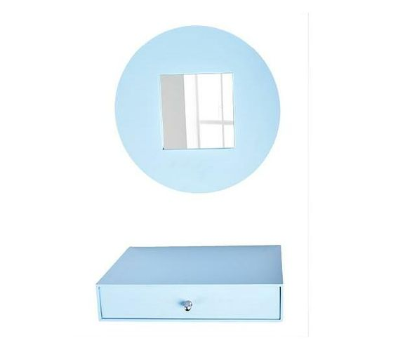 Mirror and drawer set-sky blue