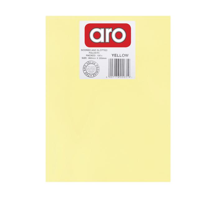 ARO Straight Cut Folders 100 Pack Yellow