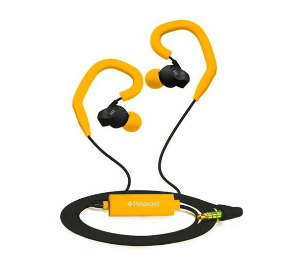 Polaroid Sports Earbuds with Built-in-Mic and Removable Ear Hooks- Orange