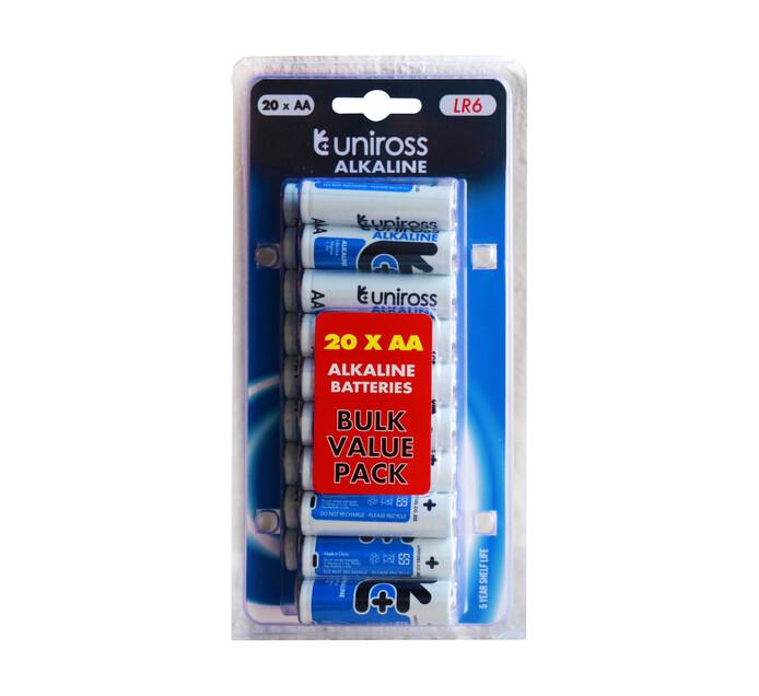 Uniross AA Alkaline Batteries 20-Pack
