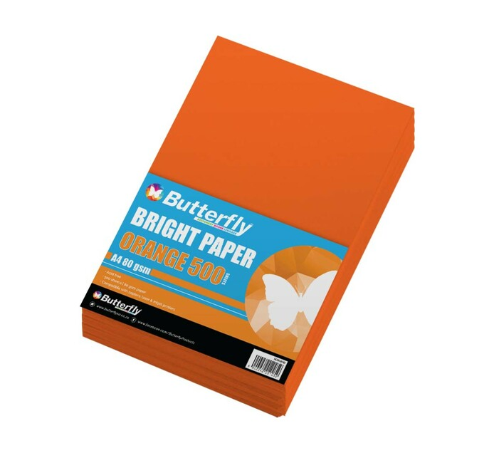 Butterfly A4 Paper Ream Bright Orange 500 Sheets