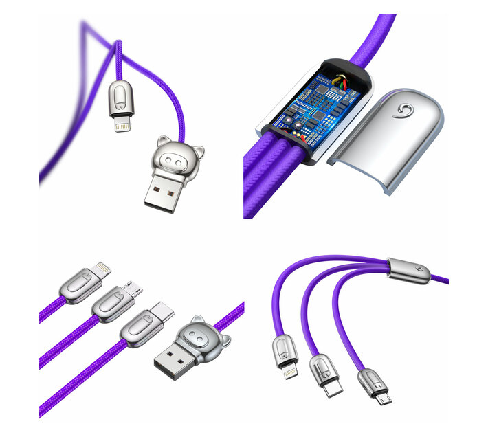 Baseus 1.2m - 3.5A 3in1 L.P. USB Type-A 2.0 to Lightning, Micro & Type-C - Purple