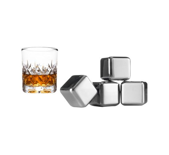Vacu Vin Stainles Steel Whiskey Chilling Stones 4PC