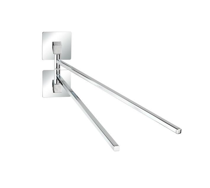 WENKO Turbo-Loc S/Steel Towel Holder W/ 2 Mobile Arms Quadro Range - No Drilling