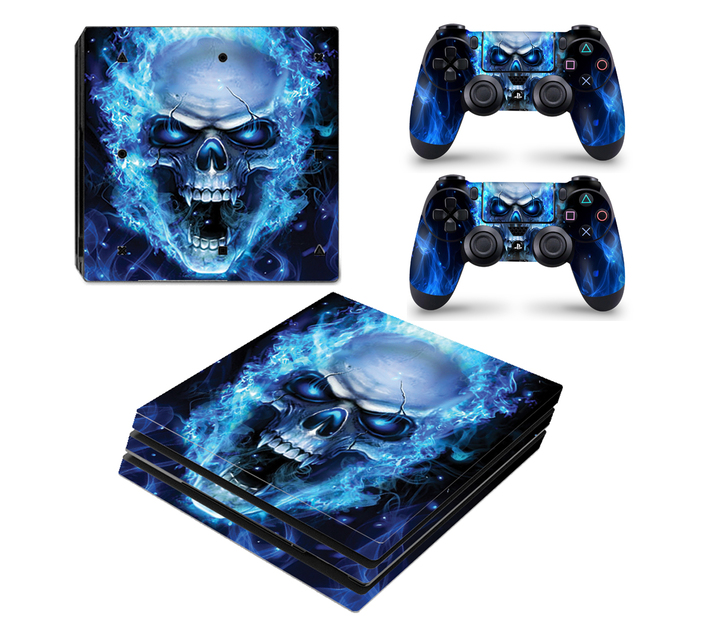 SKIN-NIT Decal Skin For PS4 Pro: Blue Skull