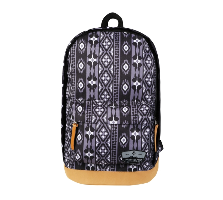 Volkano Suede Series Backpack in Ethnic Print with Elasticated Device Compartment and Adjustable Shoulder Straps