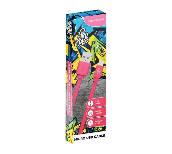 Pro Bass Energize Series Micro USB Cable - 1.2m - Pink