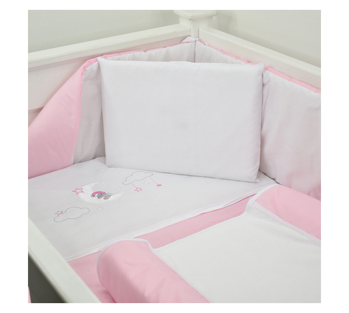 5 Piece Cot Linen Set - Pink Sleepy Bear On Moon
