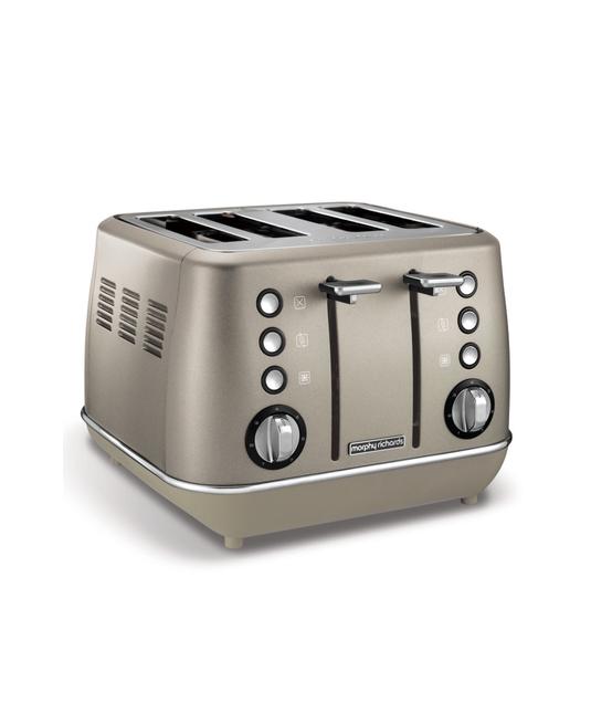 "Morphy Richards 4 Slice Toaster Stainless Steel Platinum 1800W ""Evoke"""