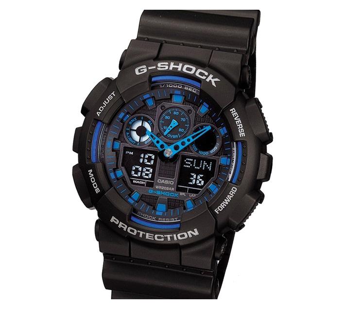 Casio G-Shock GA-100-1A2DR Men`s Ana-Digital Watch Bundle