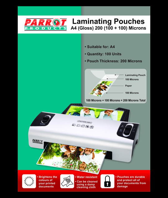 PARROT PRODUCTS Laminating Pouches (A4, Gloss, 220x310mm, 200 (100+100) Microns, Box 100)