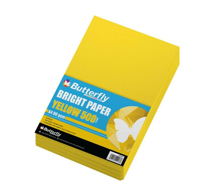 Butterfly A4 Paper Ream Bright Yellow 500 Sheets