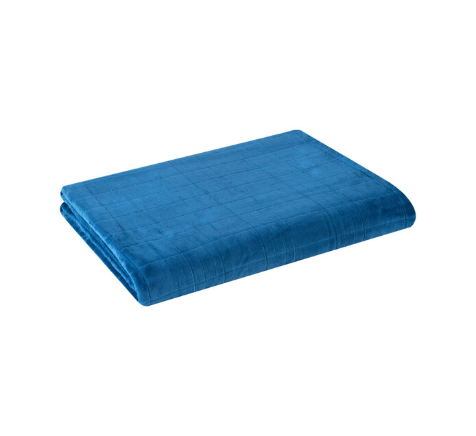 Home Living 180 x 230 cm Check Embossed Flannel Throw Moroccan blue