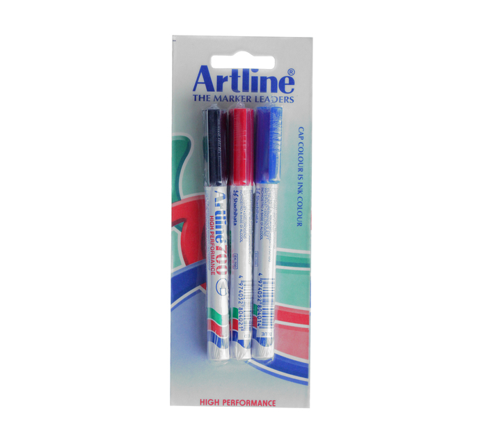 Artline EK700 Permanent Markers Fine Assorted 3-Pack Assorted