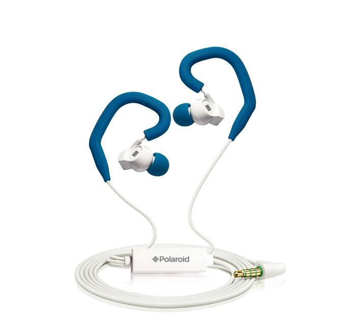 Polaroid Sports Earbuds with Built-in-Mic and Removable Ear Hooks- Blue