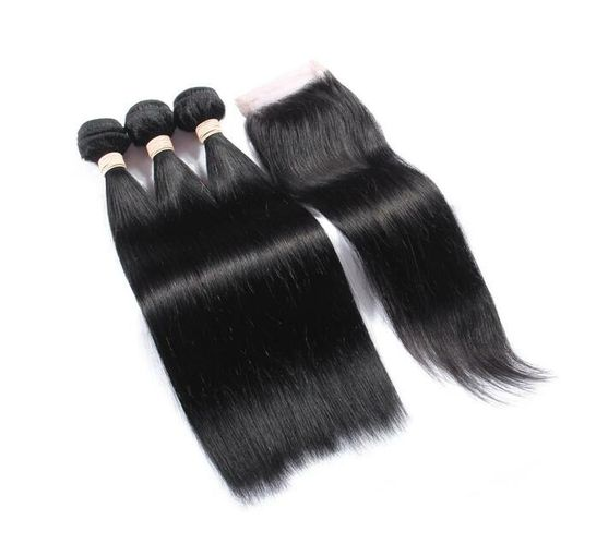 BLKT Free Closure Package 8 inches 12A Brazilian Straight Weaves x3 Bundles and Free Closure