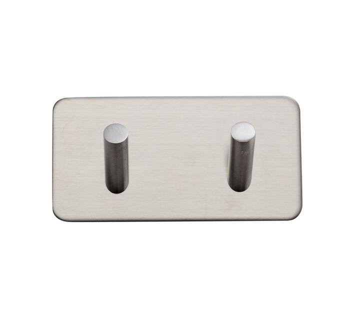 Handles Inc Stainless Steel self adhesive 3M square double hook brushed  stainless steel